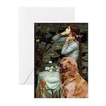 Ophelia & Golden Retriever Greeting Cards (Pk of 2