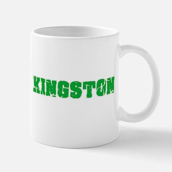 Kingston Name Weathered Green Design Mugs