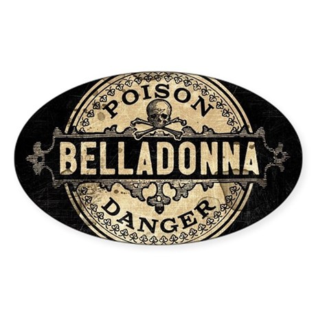 Vintage Style Belladonna Poison Sticker (Oval)