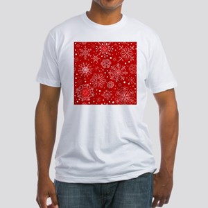 Snowflakes on Red Background Fitted T-Shirt