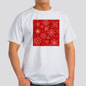Snowflakes on Red Background Light T-Shirt