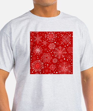Snowflakes on Red Background T-Shirt