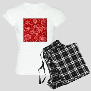 Snowflakes on Red Backgroun Women's Light Pajamas