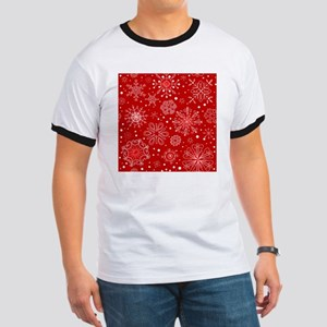 Snowflakes on Red Background Ringer T