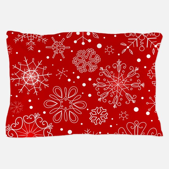 Snowflakes on Red Background Pillow Case