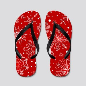 Snowflakes on Red Background Flip Flops