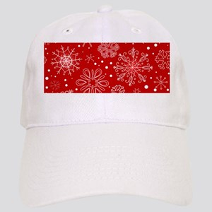 Snowflakes on Red Background Cap