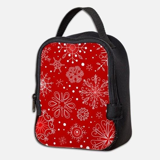 Snowflakes on Red Background Neoprene Lunch Bag
