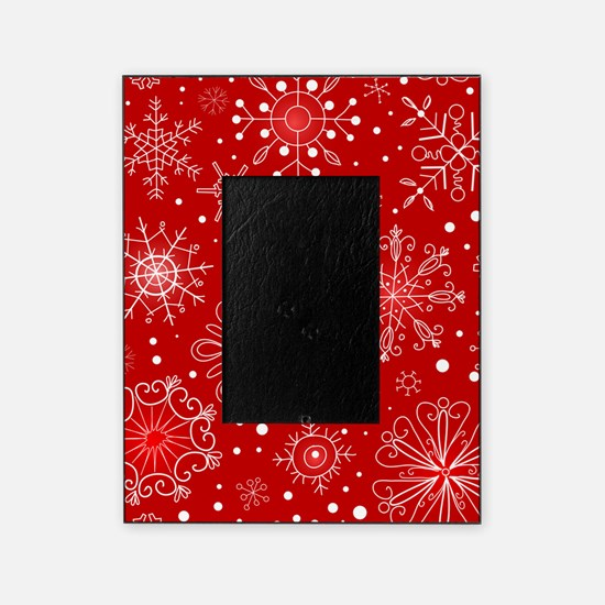 Snowflakes on Red Background Picture Frame