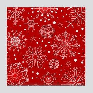 Snowflakes on Red Background Tile Coaster
