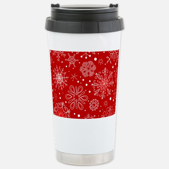 Snowflakes on Red Backg Stainless Steel Travel Mug