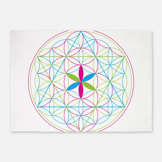 Flower of life tetraedron/merkaba 5'x7'Area Rug