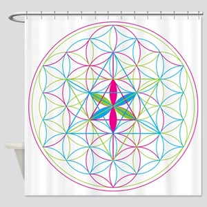 Flower of life Metatron Merkaba Shower Curtain