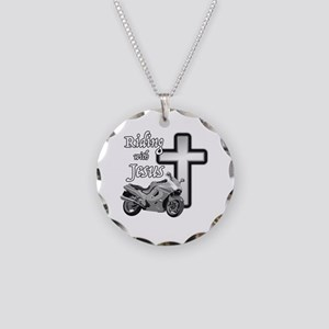 Riding with Jesus Necklace Circle Charm