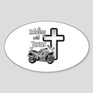 Riding with Jesus Sticker (Oval)