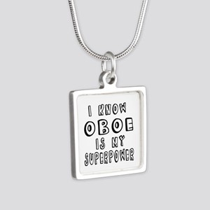 Oboe is my superpower Silver Square Necklace