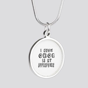 Oboe is my superpower Silver Round Necklace