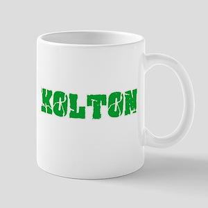 Kolton Name Weathered Green Design Mugs