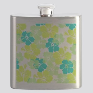 Hawaiian hibiscus pink+lime Flask