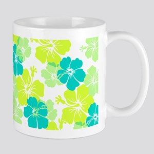 Hawaiian hibiscus pink+lime Mugs