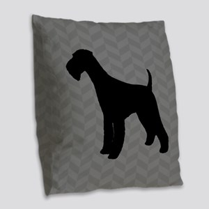 Airedale Terrier Silhouette Burlap Throw Pillow