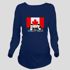 Canada Ice Hockey Pe Long Sleeve Maternity T-Shirt