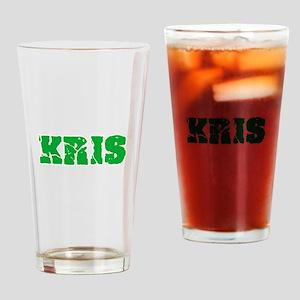 Kris Name Weathered Green Design Drinking Glass