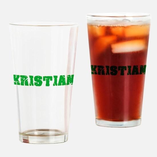 Kristian Name Weathered Green Desig Drinking Glass