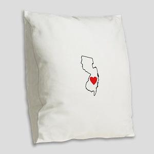 I Love New Jersey Burlap Throw Pillow