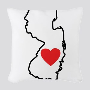 I Love New Jersey Woven Throw Pillow