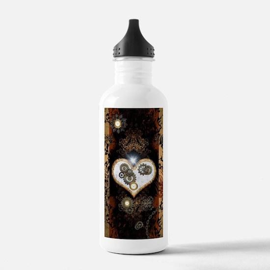 Steampunk, beautiful heart Water Bottle