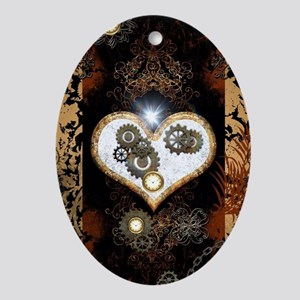 Steampunk, beautiful heart Oval Ornament