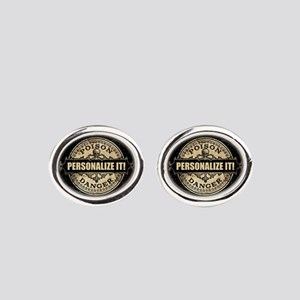 PERSONALIZED Poison Label Oval Cufflinks