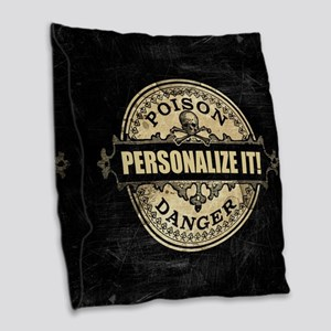 PERSONALIZED Poison Label Burlap Throw Pillow