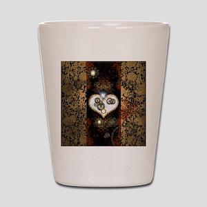 Steampunk, beautiful heart Shot Glass