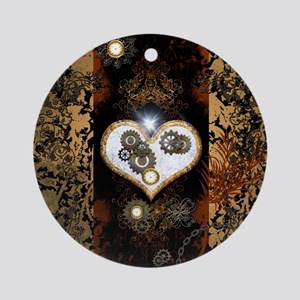 Steampunk, beautiful heart Round Ornament