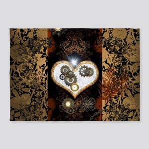 Steampunk, beautiful heart 5'x7'Area Rug