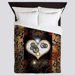 Steampunk, beautiful heart Queen Duvet