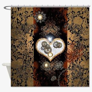 Steampunk, beautiful heart Shower Curtain