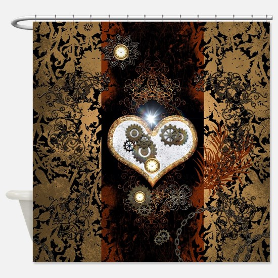 Steampunk, beautiful heart Shower Curtain