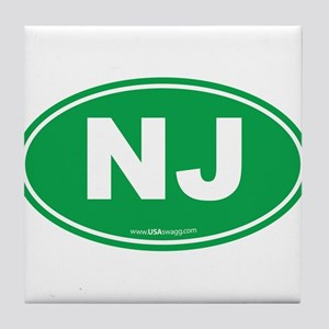 New Jersey NJ Euro Oval Tile Coaster