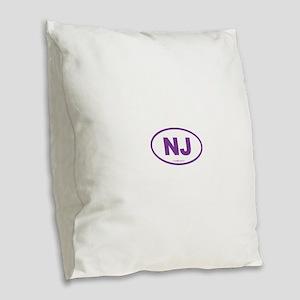 New Jersey NJ Euro Oval Burlap Throw Pillow