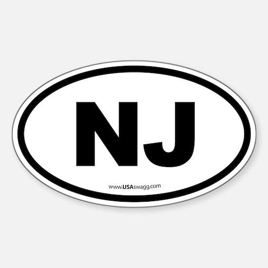 New Jersey NJ Euro Oval Sticker (Oval)