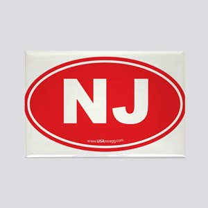 New Jersey NJ Euro Oval Rectangle Magnet