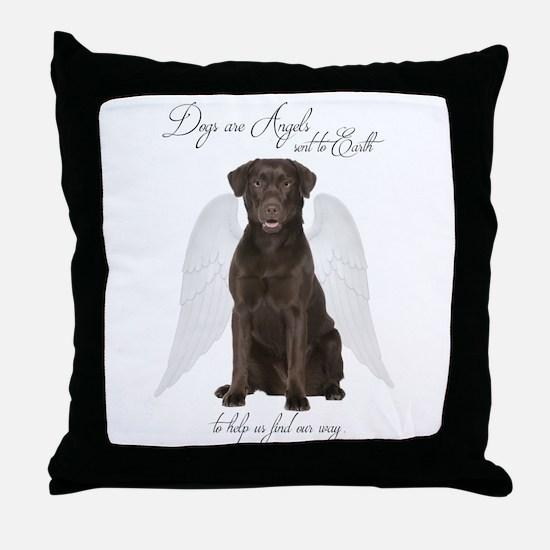 Chocolate Lab Angel Throw Pillow