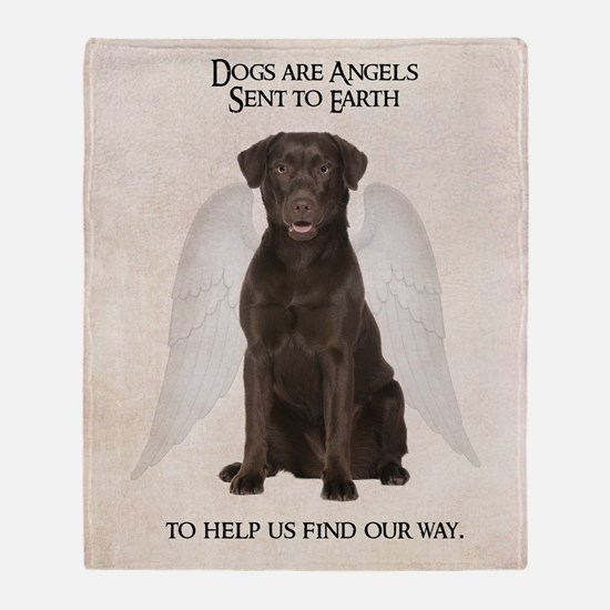 Chocolate Lab Angel Throw Blanket