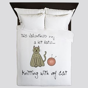 knitting cat 1 Queen Duvet