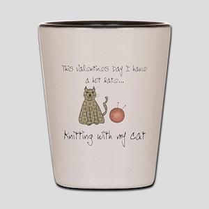 knitting cat 1 Shot Glass