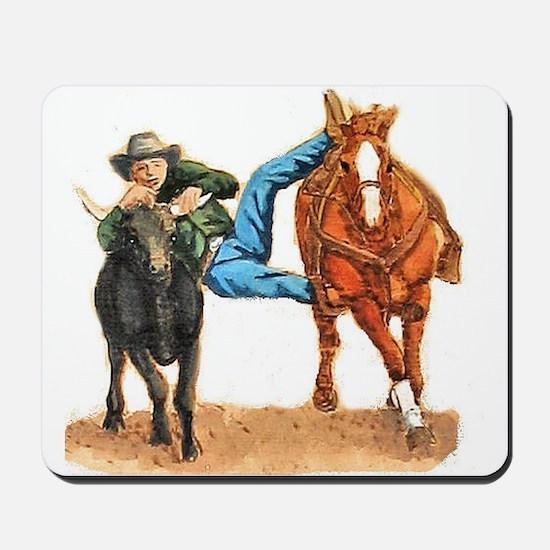 Bull Doggin, Steer Wrestling Mousepad