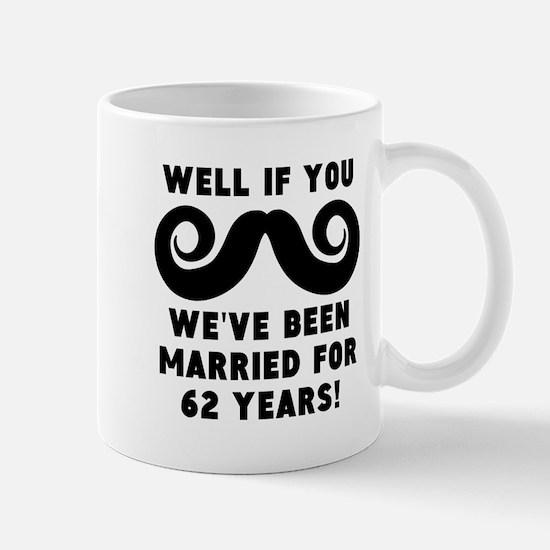 62nd Wedding Anniversary Mustache Mugs